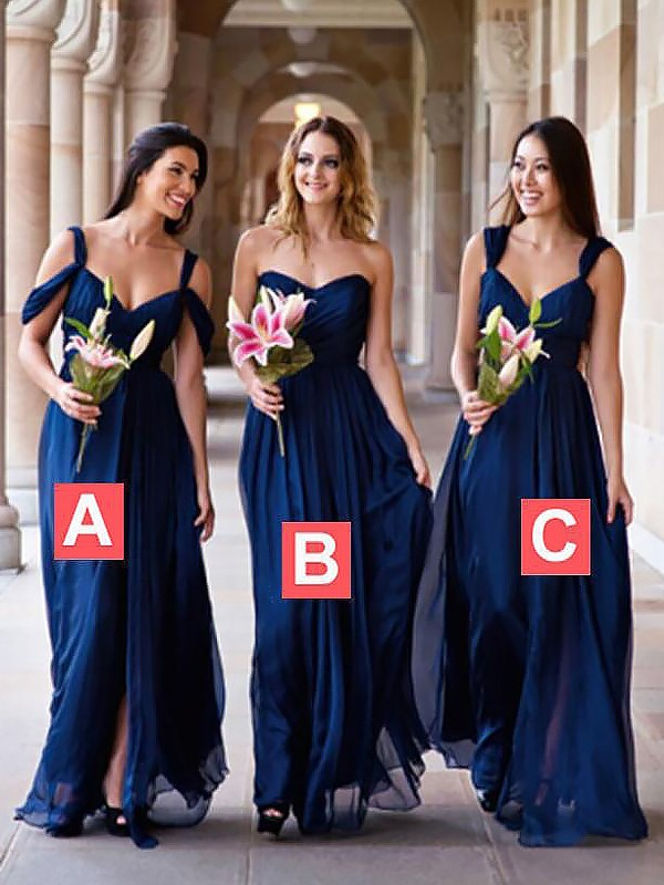 Floor-Length A-Line/Princess Chiffon Sleeveless Bridesmaid Dresses