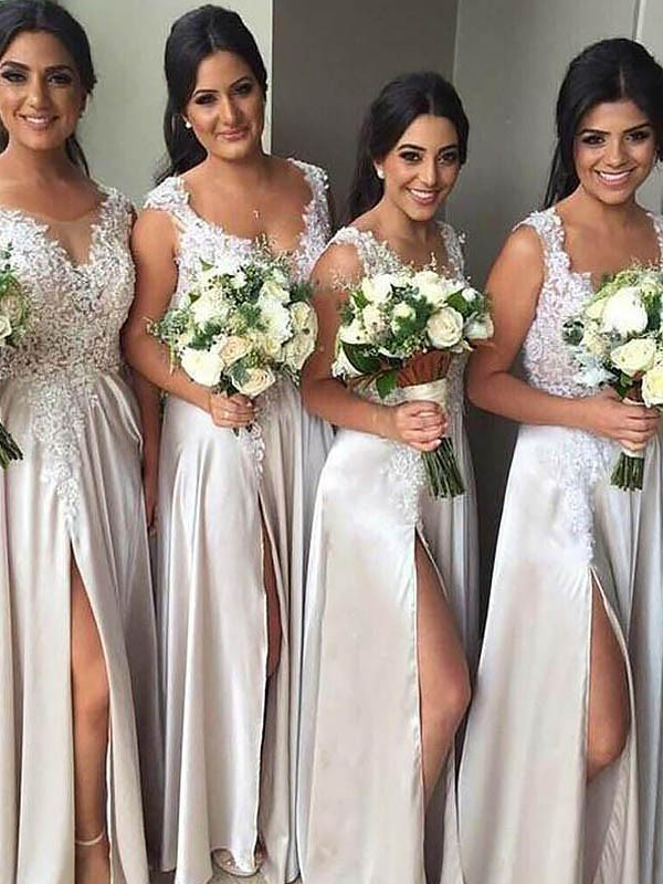 Floor-Length Sheath/Column V-neck Sleeveless Silk like Satin Bridesmaid Dresses