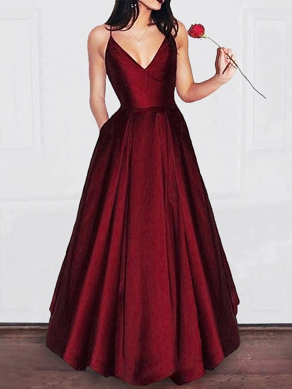 Floor-Length A-Line/Princess V-neck Sleeveless Satin Dresses with Ruffles