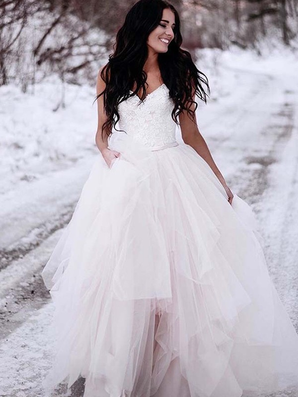 A-Line/Princess V-neck Sleeveless Ruched Tulle Floor-Length Wedding Dresses