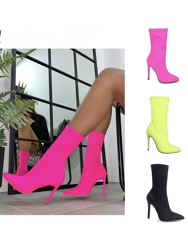 Stiletto Heel Cotton Closed Toe Booties For Women