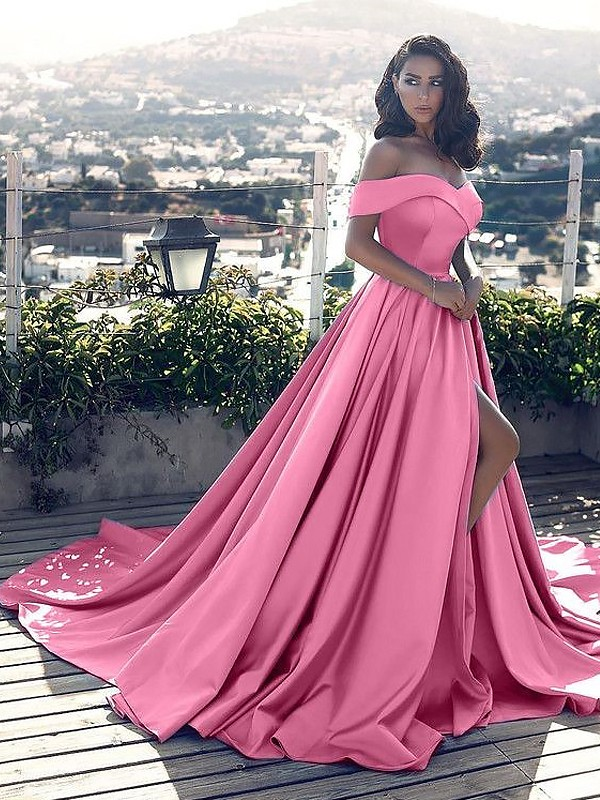 Court Train A-Line/Princess Off-the-Shoulder Sleeveless Satin Dresses with Ruffles