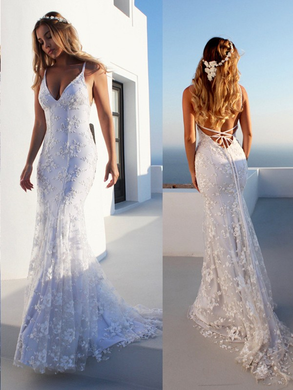 Court Train Trumpet/Mermaid Spaghetti Straps Lace Sleeveless Tulle Wedding Dresses
