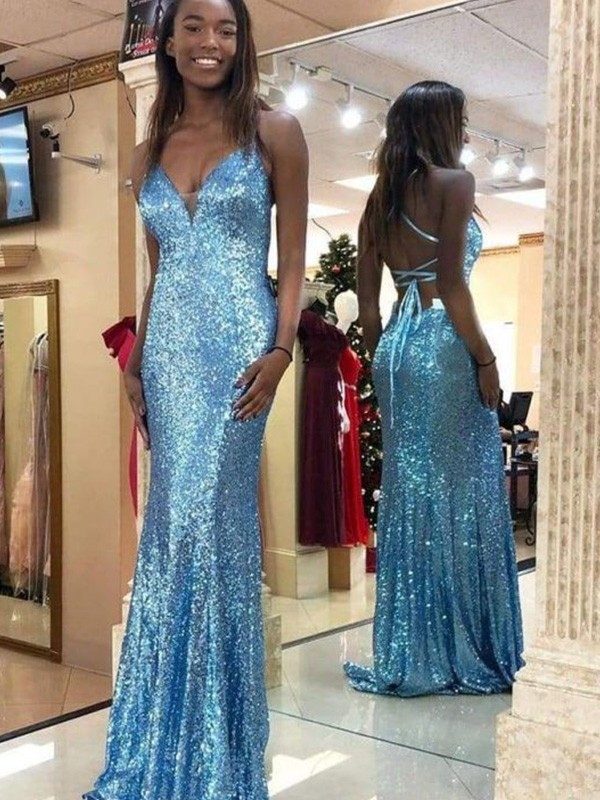 Sleeveless Trumpet/Mermaid Sequins V-neck Sweep/Brush Train Ruffles Dresses