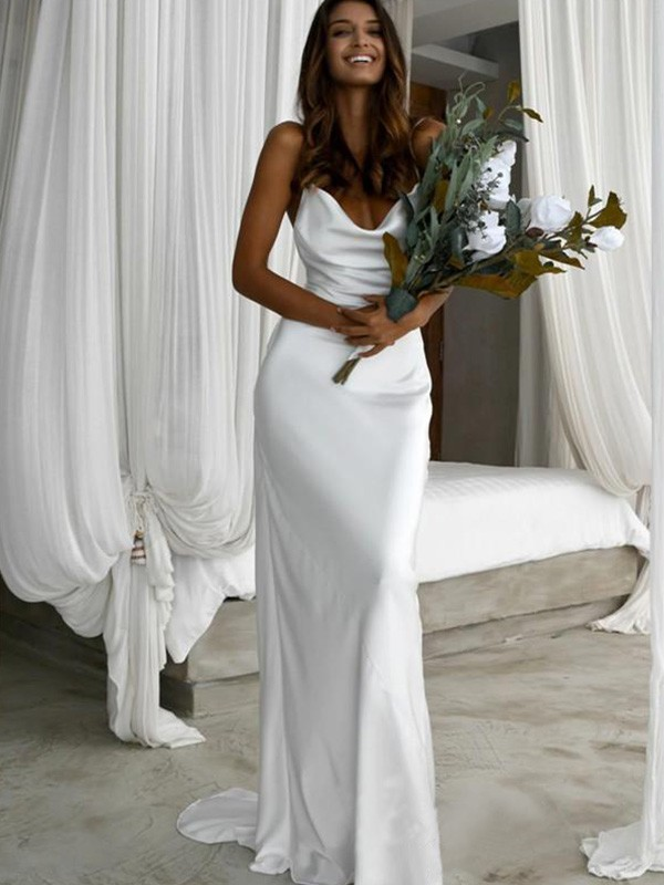 Silk like Satin Sheath/Column Spaghetti Straps Sweep/Brush Train Sleeveless Ruched Wedding Dresses