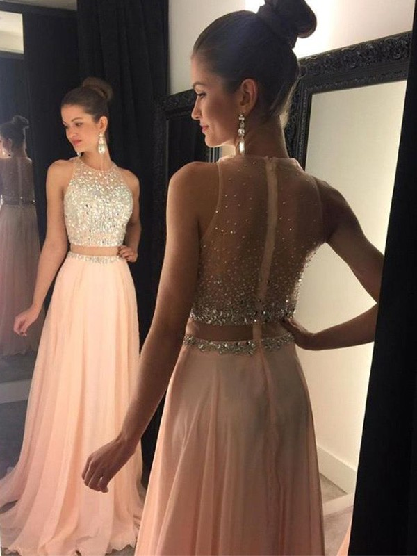 A-Line/Princess Scoop Sleeveless Chiffon Sweep/Brush Train Beading Dresses