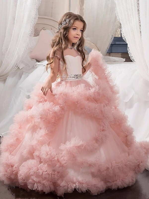 Ball Gown Jewel Short Sleeves Crystal Tulle Floor-Length Flower Girl Dresses