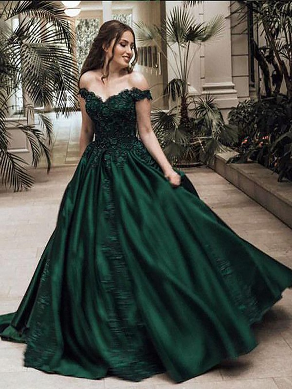 Dark Green Floor-Length Ball Gown Off-the-Shoulder Sleeveless Satin Dresses with Lace