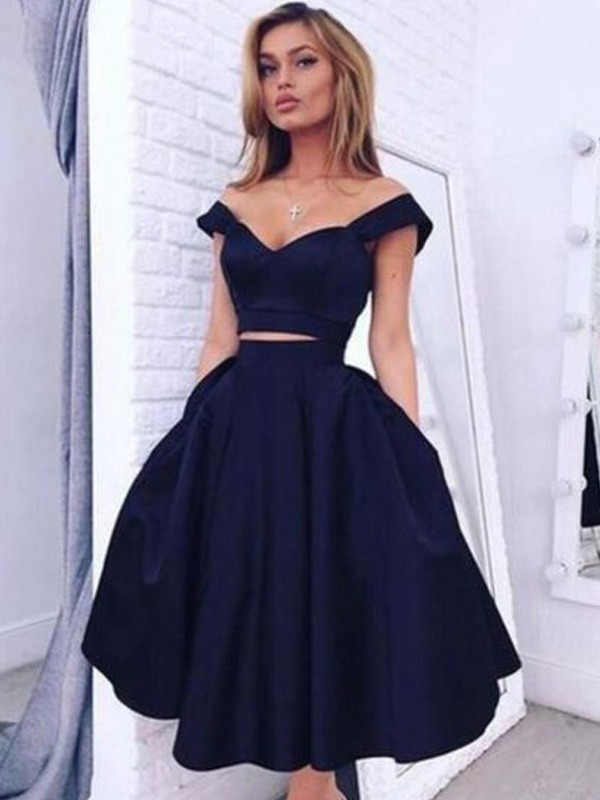 A-Line/Princess Off-the-Shoulder Satin Sleeveless Tea-Length Two Piece Dresses