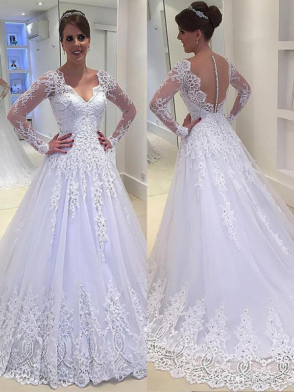 A-Line/Princess V-neck Long Sleeves Applique Court Train Tulle Wedding Dresses