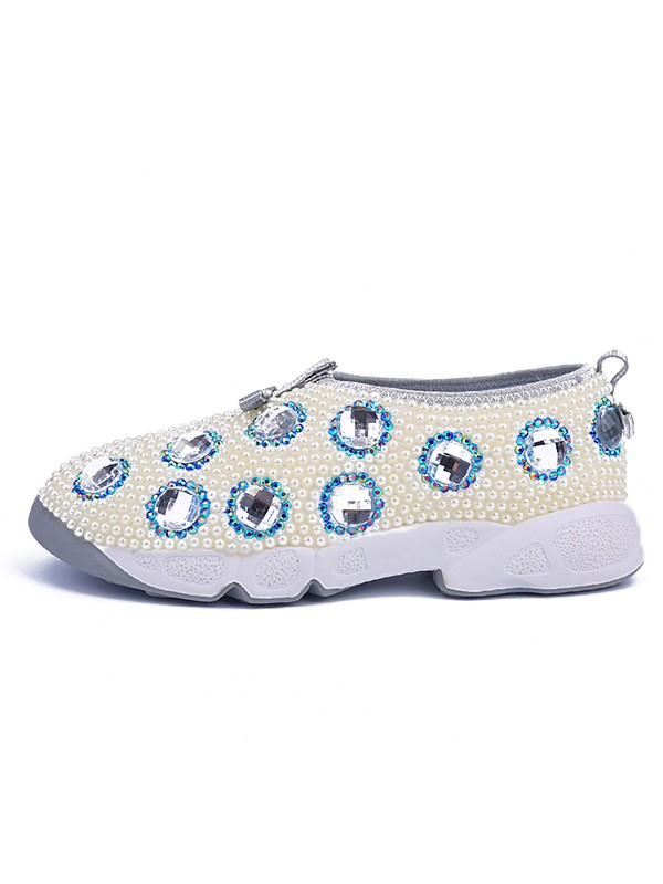 Women's Patent Leather Flat Heel Closed Toe With Pearl Fashion Sneakers