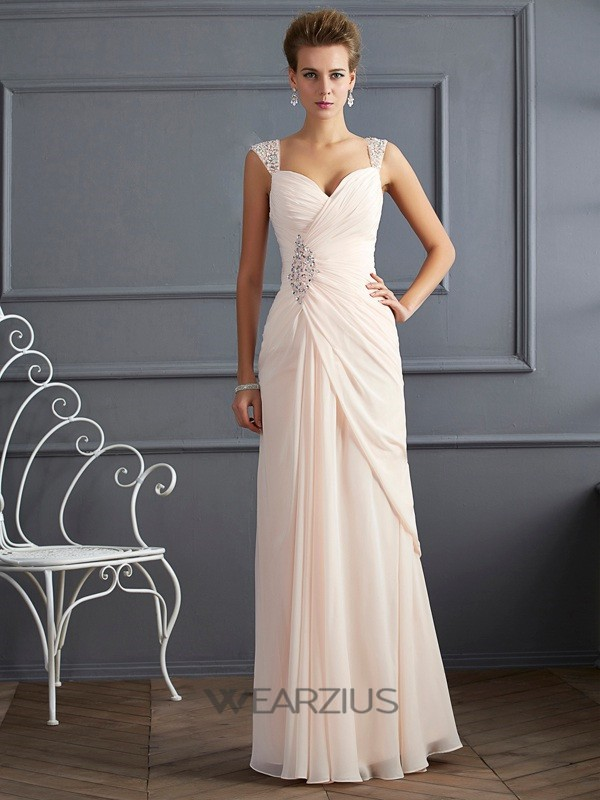 Sheath/Column Straps Sleeveless Chiffon Beading Floor-Length Dresses