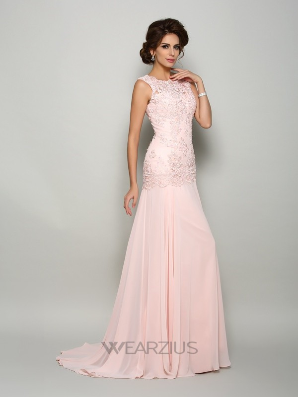 Trumpet/Mermaid Scoop Sweep/Brush Train Sleeveless Chiffon Beading Mother of the Bride Dresses