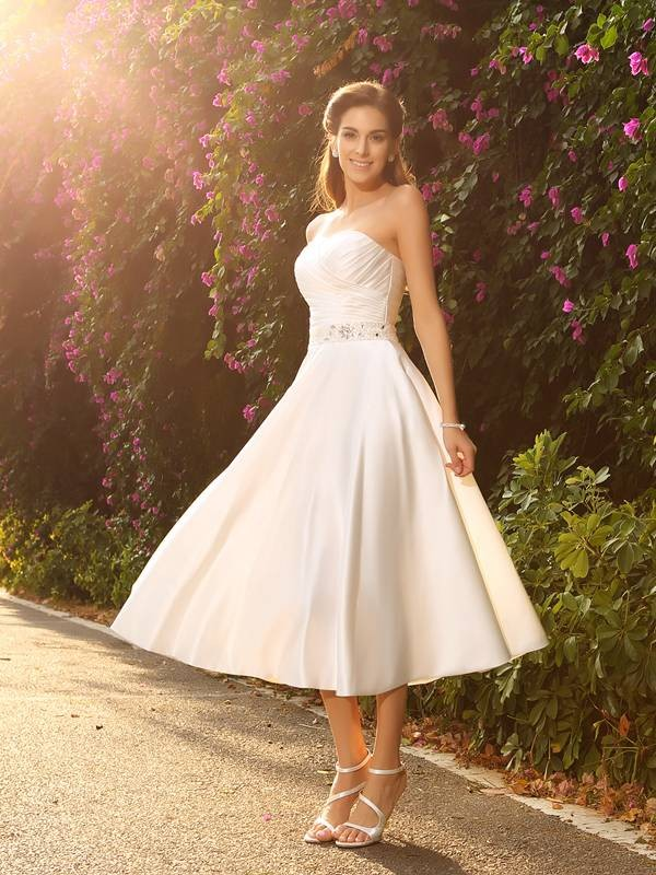 A-Line/princess Sweetheart Satin Sleeveless Tea-Length Beading Wedding Dresses