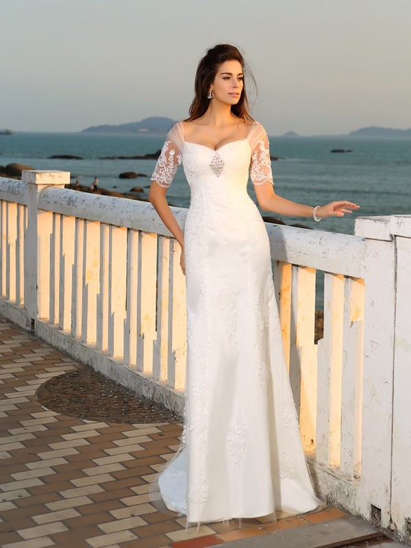 Sheath/Column Sweetheart Short Sleeves Satin Applique Floor-Length Wedding Dresses