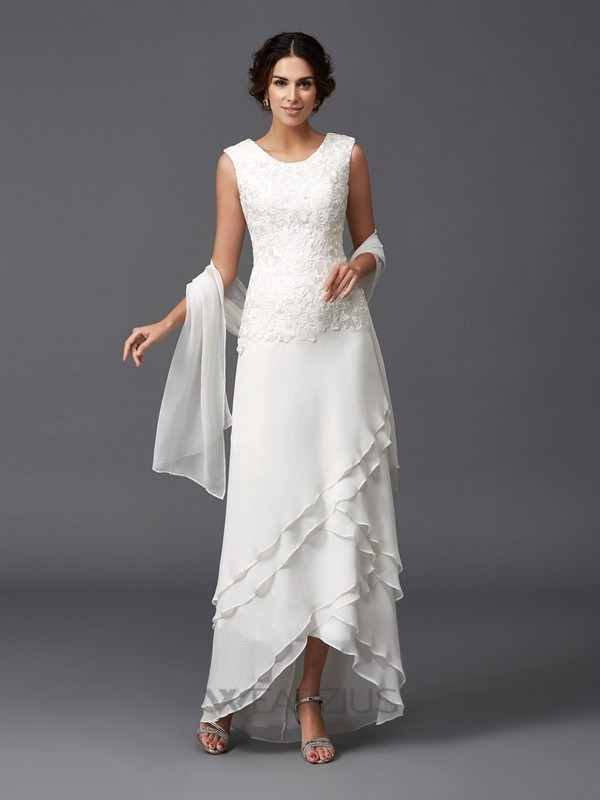 A-Line/Princess Scoop Asymmetrical Sleeveless Chiffon Lace Mother of the Bride Dresses