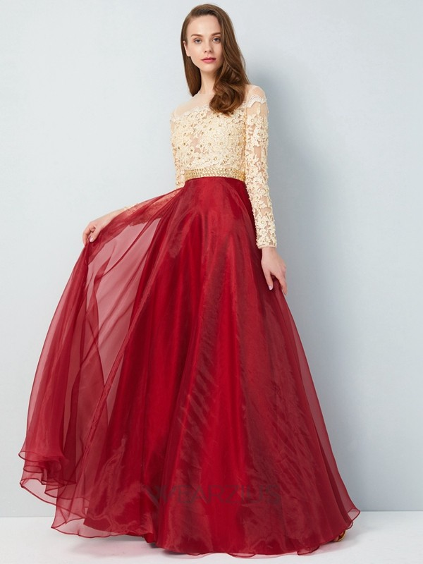 A-Line/Princess Sheer Neck Long Sleeves Organza Applique Floor-Length Dresses