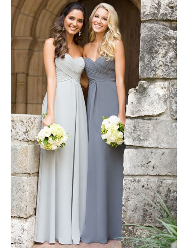 A-Line/Princess Sweetheart Floor-Length Chiffon Sleeveless Ruched Bridesmaid Dresses