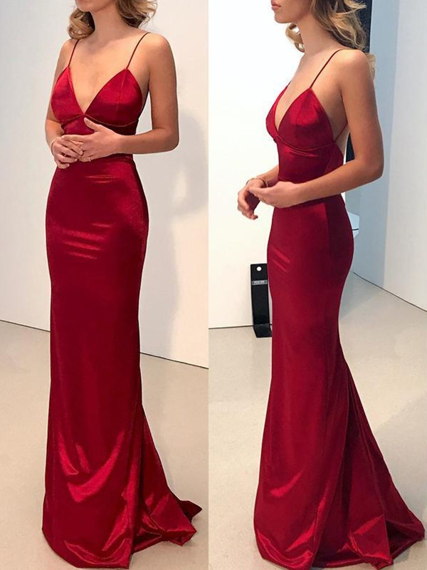 Sheath/Column V-neck Spaghetti Straps Sweep/Brush Train Silk like Satin Dresses