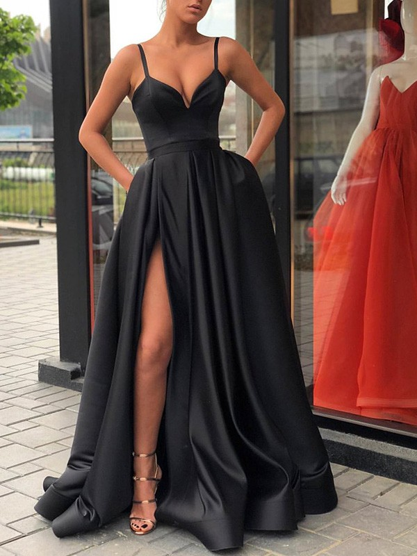 Black Sweep/Brush Train A-Line/Princess Straps Sleeveless Satin Dresses with Ruffles