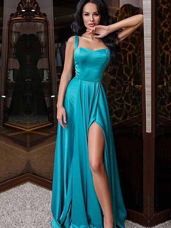 A-Line/Princess Straps Sleeveless Elastic Woven Satin Sweep/Brush Train Dresses with Ruffles