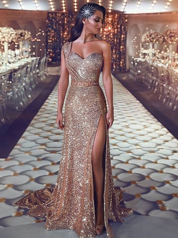Champagne Sweep/Brush Train Sheath/Column One-Shoulder Sleeveless Beading Sequins Dresses