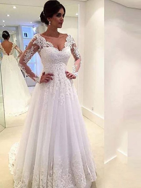 Ball Gown V-neck Sweep/Brush Train Long Sleeves Lace Tulle Wedding Dresses