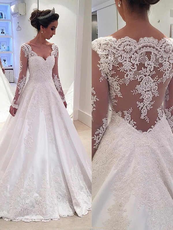 Ball Gown V-neck Lace Long Sleeves Court Train Satin Wedding Dresses