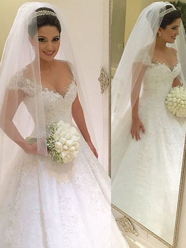 Floor-Length Ball Gown Sleeveless V-neck Tulle Beading Floor-Length Wedding Dresses
