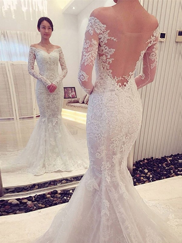 Trumpet/Mermaid Long Sleeves Off-the-Shoulder Lace Chapel Train Wedding Dresses