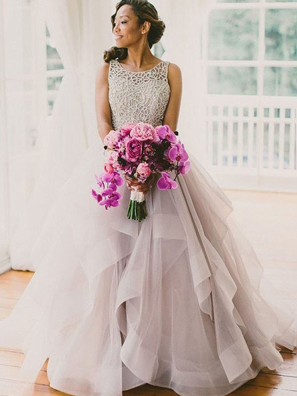 Ball Gown Scoop Tulle Sweep/Brush Train Sleeveless Beading Wedding Dresses