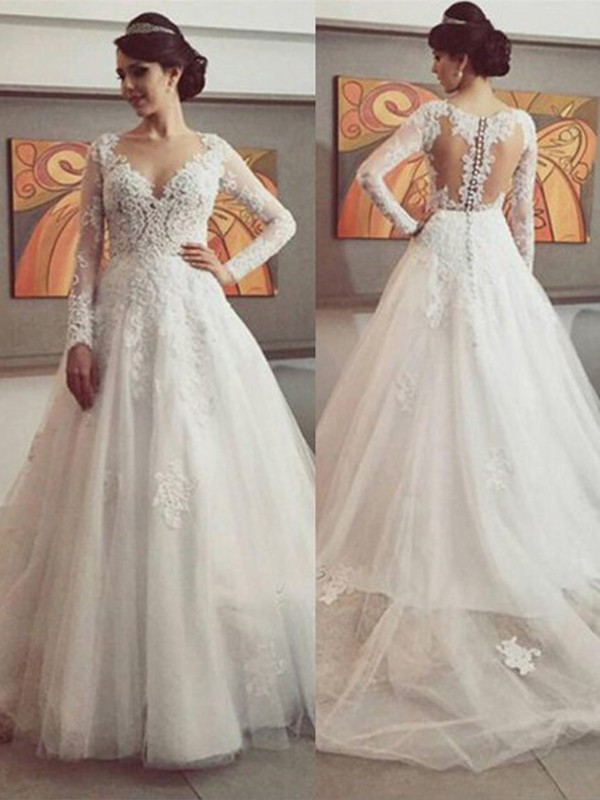 Ball Gown V-neck Long Sleeves Court Train Tulle Lace Wedding Dresses
