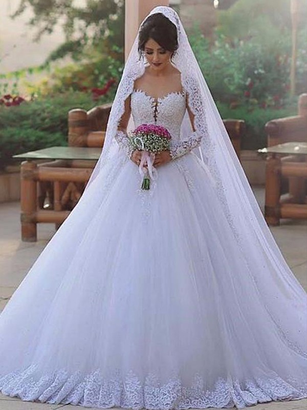 Sweep/Brush Train Ball Gown Tulle Sweetheart Long Sleeves Lace Wedding Dresses