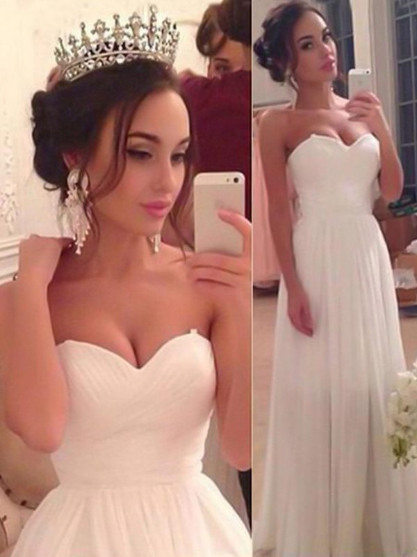 A-Line/Princess Sweetheart Chiffon Sleeveless Floor-Length Ruffles Wedding Dresses