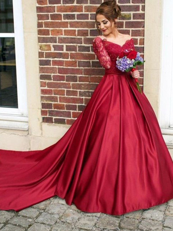 Sweep/Brush Train A-Line/Princess V-neck Long Sleeves Satin Dresses with Lace