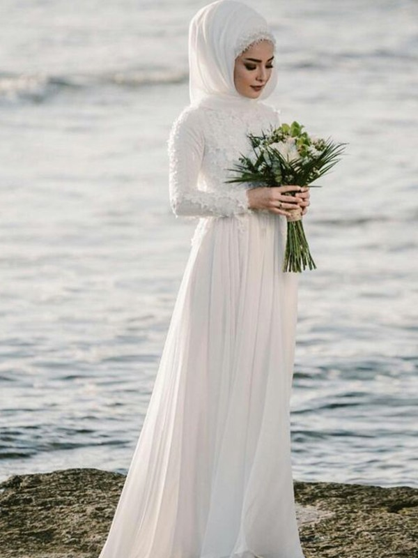 A-Line/Princess Jewel Floor-Length Long Sleeves Chiffon Wedding Dresses