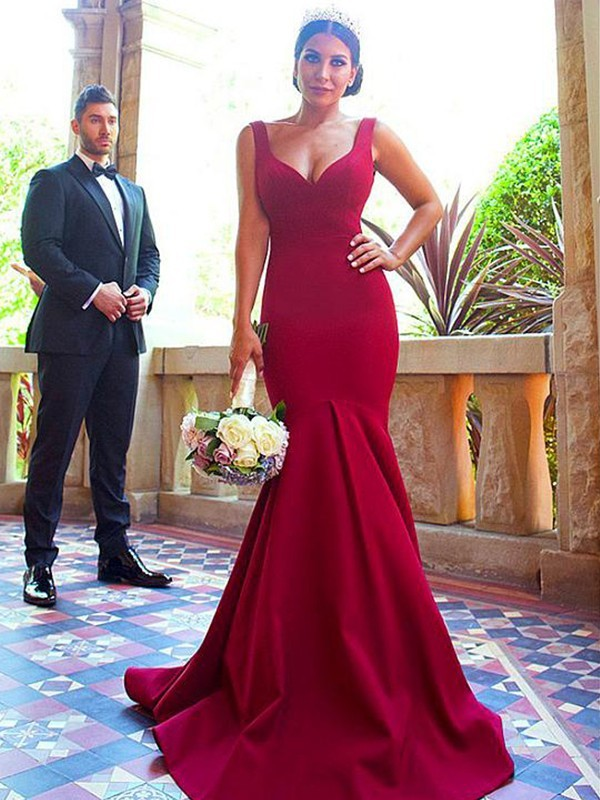 Trumpet/Mermaid Sleeveless V-neck Sweep/Brush Train Elastic Woven Satin Bridesmaid Dresses